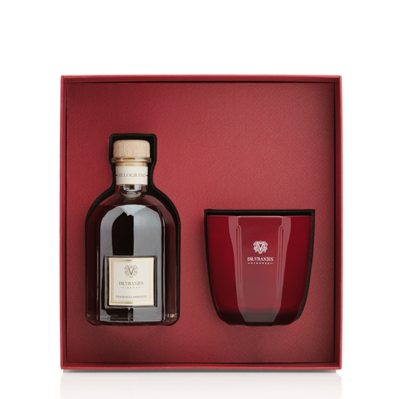 dr vranjes melograno gift box 250ml candela tormalina 200gr frv20 e09