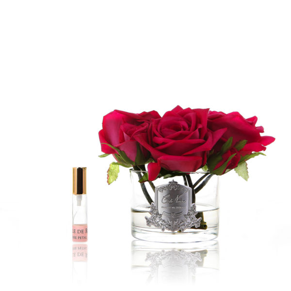 Five Rose Red Clear Glass