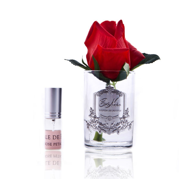 rose bud red clear glass GMR44