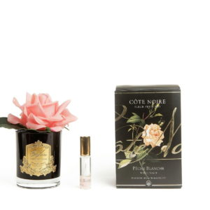 single rose white peach black glass with box 1800x1200